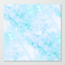 Blue Marble - Shimmery Turquoise Blue Sea Green Marble Metallic Canvas Print