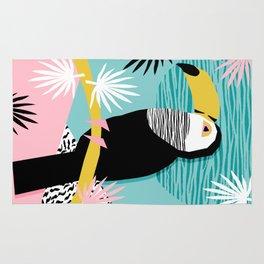 Loopy - wacka designs abstract bird toucan tropical memphis throwback retro neon 1980s style pop art Rug