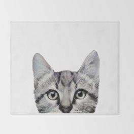 Cat, American Short hair, illustration original painting print Throw Blanket