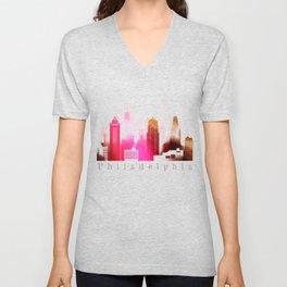 Colorful Philadelphia skyline Unisex V-Neck
