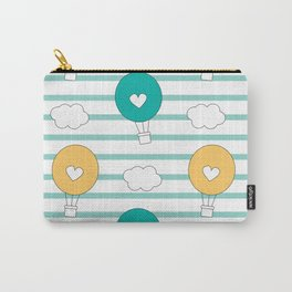 cute lovely cartoon hot air balloons pattern illustration Carry-All Pouch