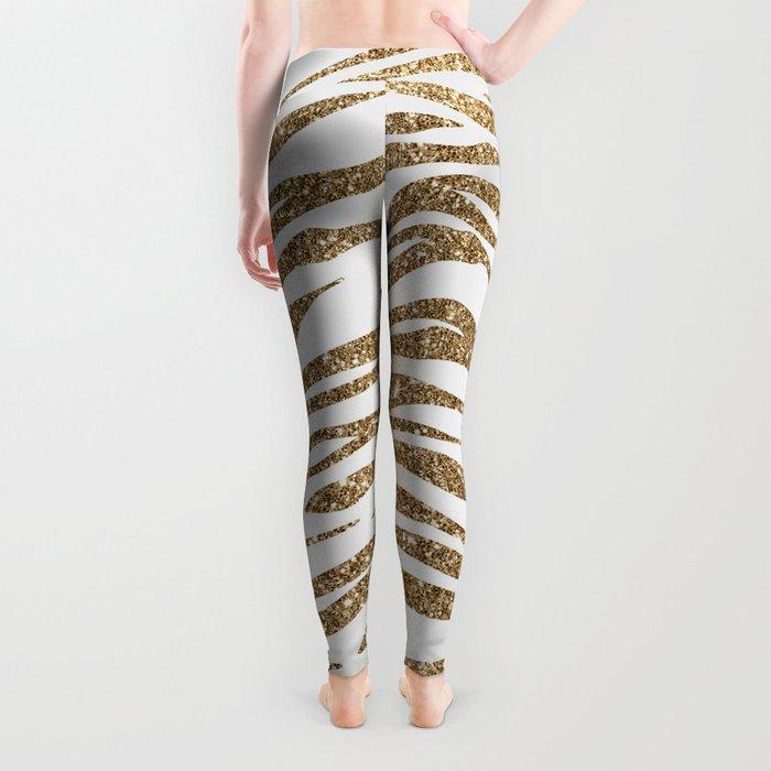 White & Glitter Animal Print Pattern Leggings