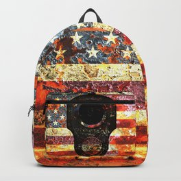 M1911 Colt 45 On Rusted American Flag Backpack