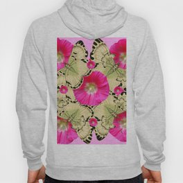 PINK ON PINK HOLLYHOCK FLORAL & YELLOW-BLACK BUTTERFLY Hoody