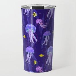 Sea jellyfish on dark purple background. Travel Mug