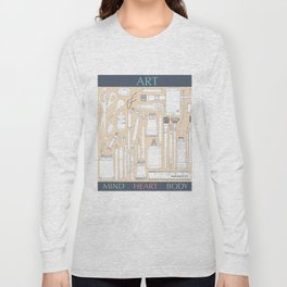 Art Mind Heart Body (cream, gray, multicolor text) Long Sleeve T-shirt