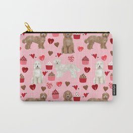 Labradoodle valentines day cupcakes hearts dog breed pet pattern labradoodles Carry-All Pouch