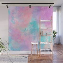 Bright pink turquoise unicorn watercolor paint background Wall Mural