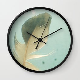 Grey Feather Wall Clock