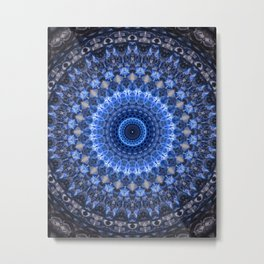 Glowing mandala in blue tones Metal Print