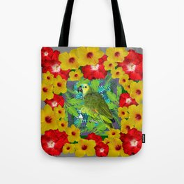 RED-YELLOW HIBISCUS & GREEN PARROT JUNGLE GRAY  ART n Tote Bag