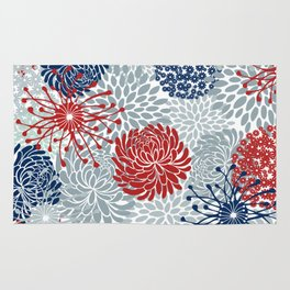 Floral Abstract Print, Red, Navy, Blue, Gray Rug