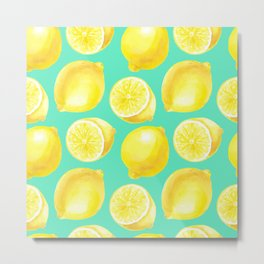 Watercolor lemons pattern Metal Print
