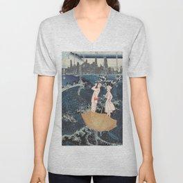 Tourists (After Hokusai) Unisex V-Neck