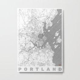Portland Maine Map Line Metal Print