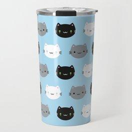 Cute Cats & Kawaii Kittens (Blue) Travel Mug