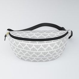 Minimalist Mudcloth 3 Black on White Fanny Pack