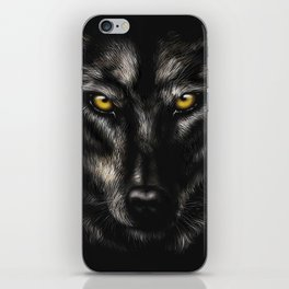 hand-drawing portrait of a black wolf on a black background iPhone Skin