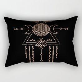 Mandala Flower of Life Rose Gold Pink Rectangular Pillow