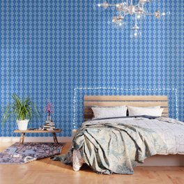 Intricate Contemporary Blue Floral Pattern Wallpaper
