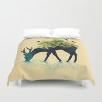 hello beautiful Duvet Covers featuring Watering (A Life Into Itself) by Picomodi