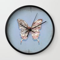 atlanta Wall Clocks featuring butterfly atlanta by Steffi Louis