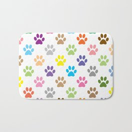 Colorful puppy paw prints pattern Bath Mat