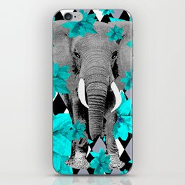 ELEPHANT and HARLEQUIN BLUE AND GRAY iPhone Skin