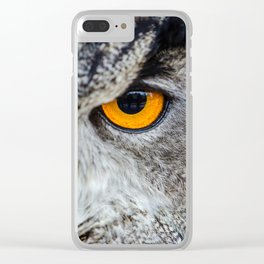 NIGHT OWL - EYE - CLOSE UP PHOTOGRAPHY - ANIMALS - NATURE Clear iPhone Case