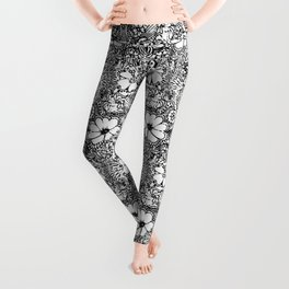 BECAUSE black and white mandala Leggings