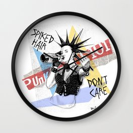 Punk 101: Spiked Hair Don't Care Wall Clock