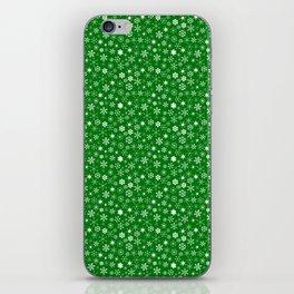 Evergreen Green & White Christmas Snowflakes iPhone Skin
