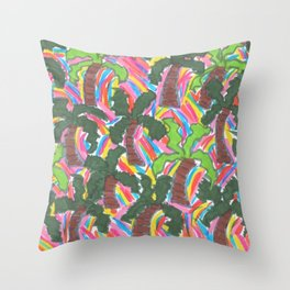 Rainbow Palm Trees Tropical Party Throw Pillow