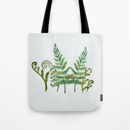 Fern Collage with Light Blue Gray Background Tote Bag