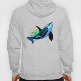 """The Dreamer Ascends"" by artist Amber Marine ~ (Copyright 2015) ~ Orca / Killer Whale Art Hoody"