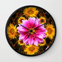Coffee Brown Yellow Sunflowers Purple Dahlias Art Wall Clock