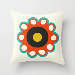 Very Retro Graphic Flower Pattern Throw Pillow