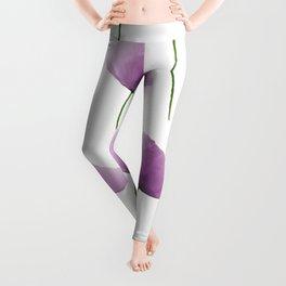 Purple poppies pattern Leggings