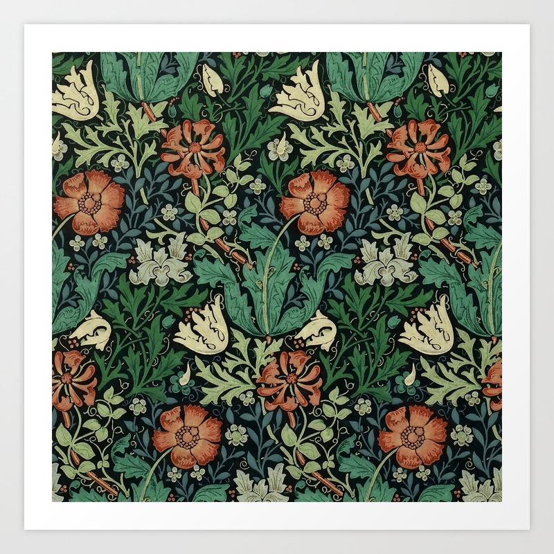 William Morris Compton Floral Art Nouveau Pattern Art Print By