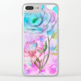 floral alcohol ink painting Clear iPhone Case