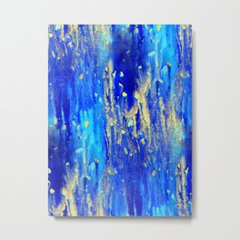 Gold & blue abstract d171013 Metal Print