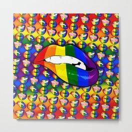 LGBTQ Rainbow Lips Bite Metal Print