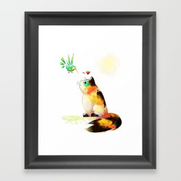 The cat and the hummingbird Framed Art Print