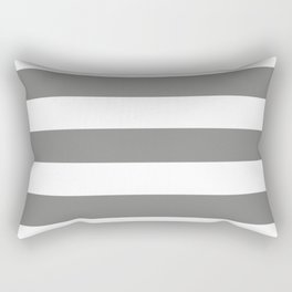 Battleship grey - solid color - white stripes pattern Rectangular Pillow