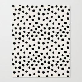 Preppy brushstroke free polka dots black and white spots dots dalmation animal spots design minimal Canvas Print