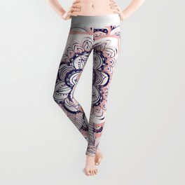 Woven Dream - Mandala in Pink, White and deep Purple Leggings