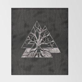 Valknut Symbol and Tree of life  -Yggdrasil Throw Blanket