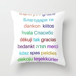 Thank you in different languages Throw Pillow
