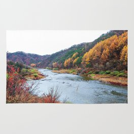 Scenic Fall Nature Lanscape with Stream and Hills Rug