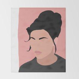 Sonja - a minimal portrait in pink Throw Blanket